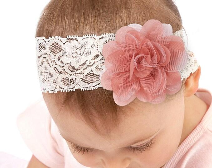 Baby Girl Headband, Newborn Girl Headband, Newborn Girl Outfit, Baby Girl Bow, Pink Flower, Lace Headband, Baby Girl Accessories