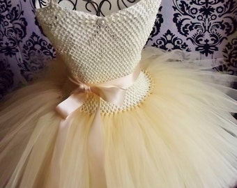 Champagne Tulle Dress/Ivory Tulle Dress/Womens' Dresses/Tutu Dress/Adult tulle dress/Vintage inspired dress/Flower Girl Dresses/Flower Girl
