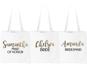Personalized Bridal Tote Bag, Bridesmaid Tote Bag, Maid of Honor Tote Bag, Wedding Party Tote Bags