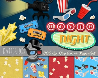 Movie Night Clip Art and Digital Paper Collection for Scrapbooking and Papercraft