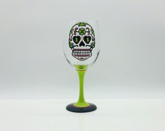 Sugar Skull Hand Painted Wine Glass Lime Green Pink Turquoise Dia De Los Muertos Day of the Dead