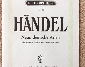 Handel Arias, Neun Deutsche Arien, Soprano, Violin, Violincello, Piano, Breitkopf Edition Nr 5458, Nine German Arias for Voice Violin Cello