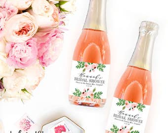 Bridal Shower Mini Champagne Bottle Labels - Weatherproof Bridal Shower Favor Cheers to the Future Mrs. Bachelorette Stickers - Hens Party