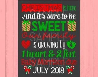 Christmas Pregnancy Announcement Chalkboard | Our Family Is Growing | New | One Heart & Two Feet | Christmas Baby | *DIGITAL FILE*