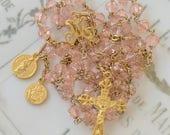 Rosary - Pink Crystal Saint Mary Magdalene Rosary - 18K Gold Vermeil