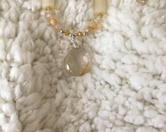 Rutilated Golden Quartz Pendant and Earring Set