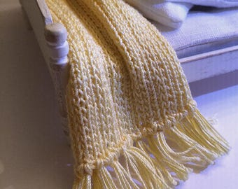 Shabby Chic Handmade Miniature Dollhouse Bed Throw - Hand Knitted- Light Yellow