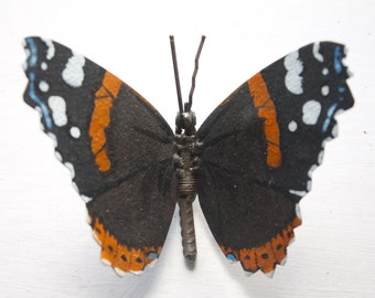 Metal Butterfly Sculpture, Scrap Metal, Red Admiral Butterfly, Oil Painted, Original Artwork