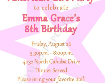 American Girl Doll Birthday Party Invitation- Personalized -Digital File or Printed Invitation