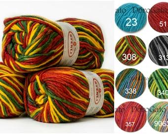 Eco yarn, Natural wool yarn, Ethno wool multicolored, Bulky yarn, Natural fibre, variegated yarn, knitting yarn, winter yarn, crochet yarn