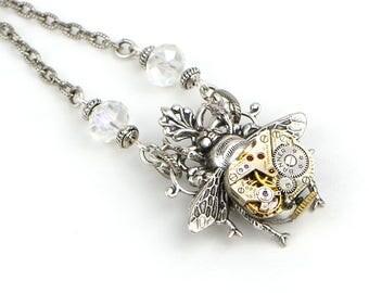 Honey Bee Necklace, Bee Jewelry, Queen Bee Jewelry Necklace, Silver Steampunk Necklace, Steampunk Jewelry Gift, Bumble Bee Jewelry Necklace