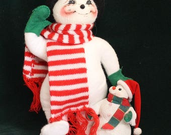 Vintage Annalee Sponsor Store Exclusive Snowman and baby in Top Hat and Scarf Annalee Dolls