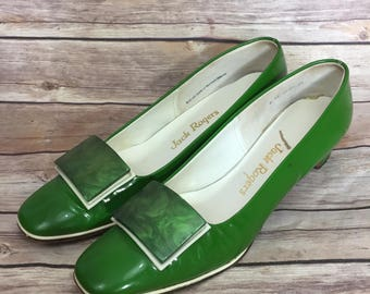 Vintage Jack Rogers Green Dress Shoes with Heel - Size 8