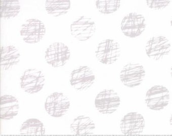 Hey Dot by Moda - Gray Scribble Dots on White Fabric