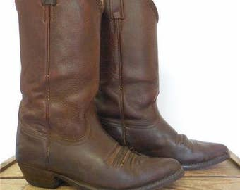 The Leather Ranch Vintage Brown Laced Leather Cowboy Western Roper Boots Men 40 / 7.5