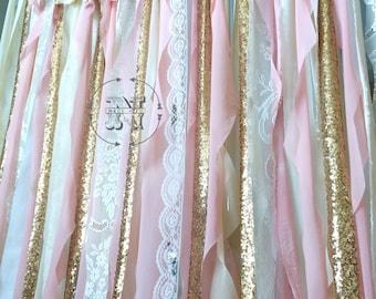 blush sparkly backdrop chagne pink garland glitter sequin