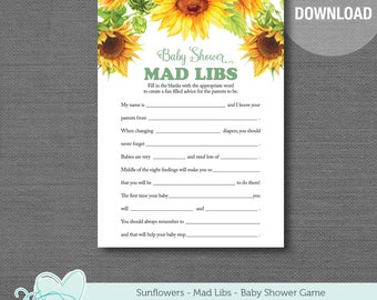 Sunflowers Mad Libs Baby Shower Game Printable, Instant Download, Yellow, Green, Baby Mad Libs, Boy, Girl, Gender Neutral, 1A