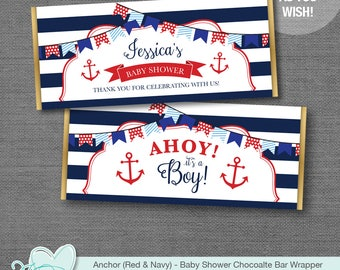 Anchor Red and Navy Chocolate Bar Wrapper Personalized, Hershey's Wrapper, Baby Shower Wrapper, Candy Wrapper, Nautical, Boy, Girl, 4N