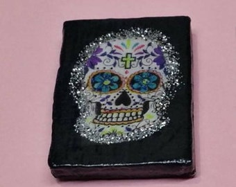 Colorful & Glittery SUGAR SKULL Hand-Crafted Refrigerator Magnet. Fridge decor. Clearance Sale!