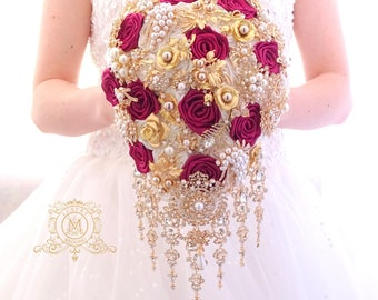 Burgundy  gold BROOCH BOUQUET in waterfall cascading teardrop gold Marsala, wine red, dep red style, jeweled with brooches for wedding