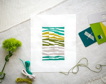 Mid Century Modern Embroidery Kit DIY Teal Green Stripes
