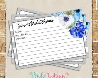 Recipe Cards, Bridal Shower Recipe Card, Glitter Gold Kitchen, Recipes, Recipe Card, BS275