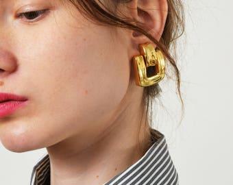 Goldtone Doorknocker Earrings Vintage Statement Door Knocker Earrings