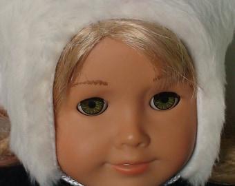 Faux fur hat for dolls, doll hats, 18 inch doll hat, winter hat for dolls, cute fur hat for dolls, fur doll hat, white doll hat, white hat