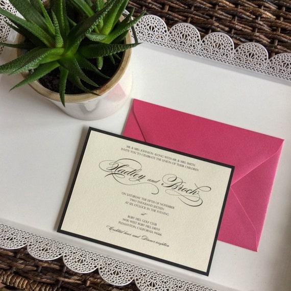 Black And White Wedding Invitation With Fuchsia Envelopes