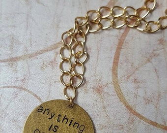 Sale - ANYTHING IS POSSIBLE - Handstamped Brass Disc Pendant Gold Chain Necklace, Antique Gold Hand-Stamped Hand Stamped - Tiny Spark Studio