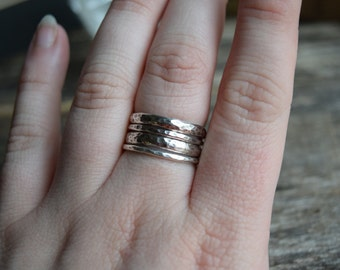 Set of Four Stacking Rings Wide Silver Rings Hammered Stacking Rings Set of Four