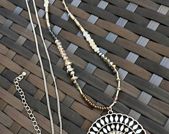 Beige Flower Medallion with Crystal Clear Beads Necklace/ Beige, Brown and Ligth Gray Beads Silver Chain Long Necklace.