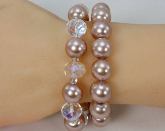 Taupe Glass Pearl Bracelets, Set of Two, Stretch Bracelets, Glass Pearls, Glass AB Crystals, Swarovski AB Crystal Spacers