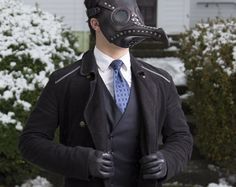 Plague Doctor Mask in Black Leather - steampunk doctor's costume