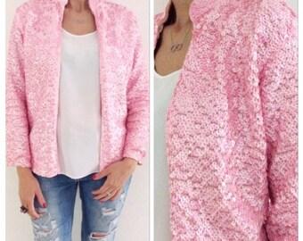 Rare sequin jacket / pink jacket / vintage / women jacket / Evening Jacket / Sequined Blazer / size small / long sleeves jacket / sequin top