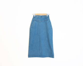 Vintage 80s High Waisted Denim Pencil Skirt Size XS