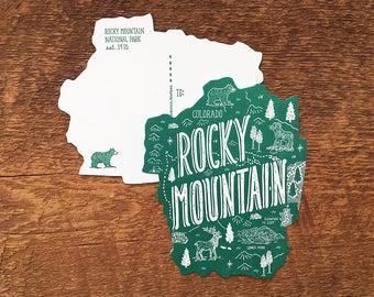Rocky Mountain Postcard, Rocky Mountain National Park, Die Cut Letterpress National Park Postcard