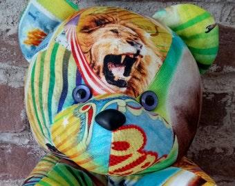 Printed fabric doudou circus bear