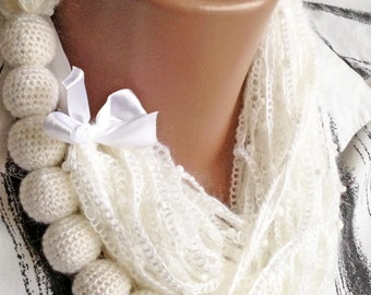 Crochet scarf/ Crochet white necklace/ Long crochet necklace scarf/ Winter mother necklace/ Lariat scarf/ Christmas gift Boho scarf necklace