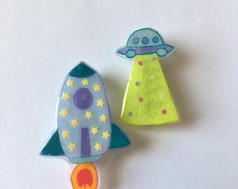 Hand Drawn Mini UFO or Rocket Badge