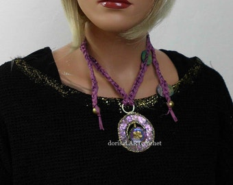 Crochet chain with exclusiv fabric, glass stones, lether, fabric petals and decorative old buttons, artful jewelry, statement necklace