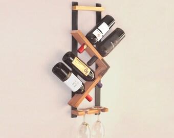 Wine Rack, Wall Wine Rack, Wood Wine Rack, wine glass rack