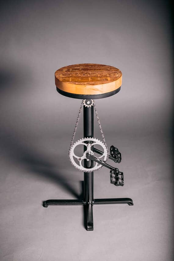 Unique Industrial Bar Stool Upcycled Bicycle Bar Stool