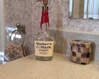 Makers Mark Whiskey Soap Dispenser with Metal Pump,Birthday Gift, Fathers Day Gift, Recycled Liquor Bottle, Kitchen Dispenser, Bathroom Pump