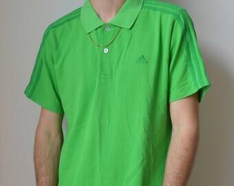 ADIDAS POLO -aesthetic, lime, 90s, y2k, sportswear, cyber, vaporwave, hip hop, club kid, tshirt, nike, kappa, hipster-