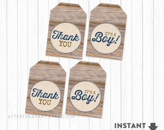 """Baby Shower Favors Boy, Printable Gift Tags Favor Tags 3x2"""" Rustic Baby Shower Decorations Boy (Instant Download) No.709NAVY"""