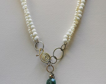 Pearl, Mother of Pearl & Fluorite Necklace