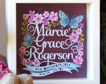 Personalised Baby Girl Birth Name Announcement Papercut Template PDF Jpeg SVG from Samantha's Papercuts