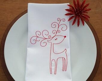Whimsical Elegant Reindeer Embroidered Napkins - Set of 4