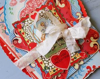 Antique Valentines Bundle 1930's, Unused Vintage Valentines, Vintage Scrapbooking Ephemera
